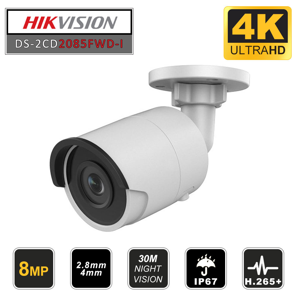 Hikvision Original 8MP CCTV Camera Updateable DS-2CD2085FWD-I IP Camera High Resoultion WDR POE CCTV Camera With SD Card Slot