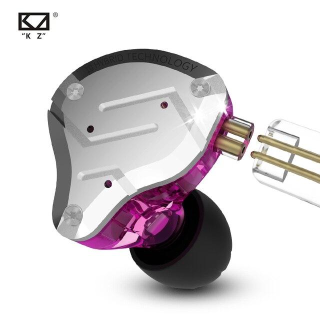 Kz zs10 pro 4ba + 1dd 하이브리드 이어폰 5 드라이버 유닛 hifi dj 모니터 러닝 스포츠 universal fit iem 이어 버드 분리형 2pin
