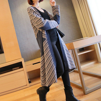 Autumn Women Thick Warm Knitted Cardigan Casual Long Black Blue Cardigan Sweater Loose Winter Female Outerwear Coat New 2020