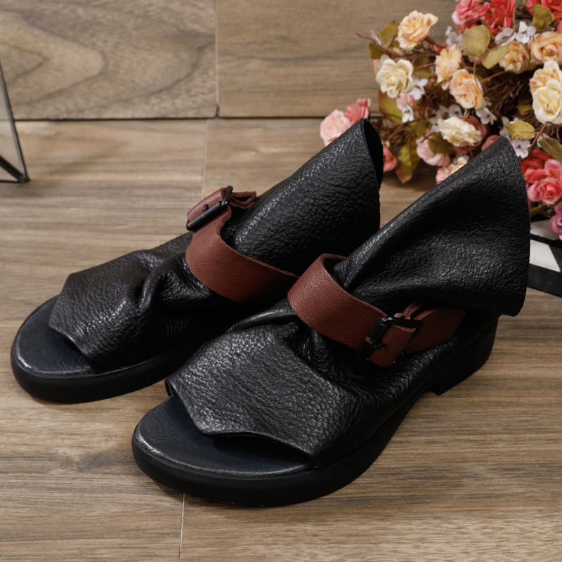 Johnature Women Slippers 2020 New Spring Summer Flat With Slides Buckle Outside Genuine Leather Concise Leisure Women Shoes 3