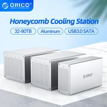 ORICO Honeycomb Cooling Multi Bay 3.5'' Aluminum HDD Docking Station 32-80TB SATA to USB3.0 HDD Enclosure With 7 Raid Mode