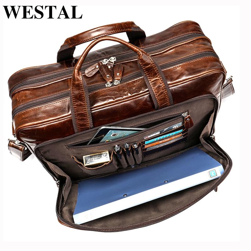 WESTAL Men's Bag/briefcase Leather Laptop Bag For Men's Genuine Leather Office Bag For Document Business Trip Travel Bags 7320
