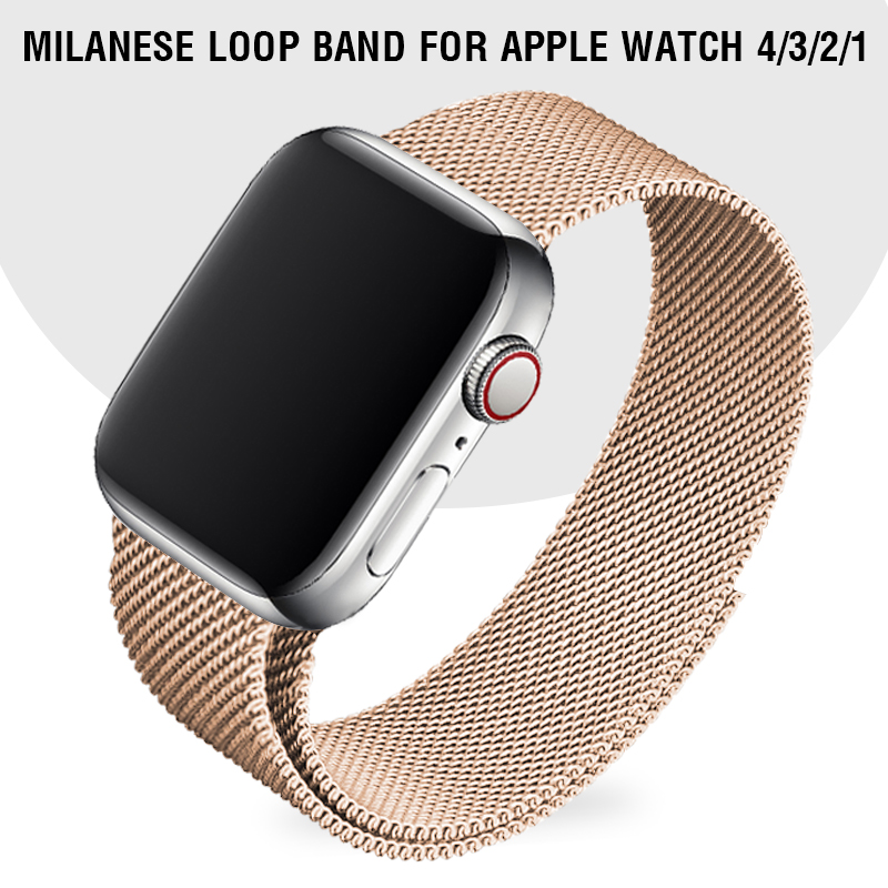 Retro Gold Watch Band 40 44mm For Apple Series 4 Replacement Metal Strap Milanese Loop Band 38 42mm For Iwatch Series 1