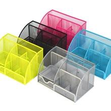 Metal Color Desk Organizer Combination Mesh Desktop Pencil Pen Badge Holder Storage Box Stationery Ruler Office School Supplies