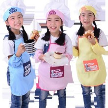 Cute Children Apron Fashion Chef Hat Pocket Set Kids Craft Art Kitchen Cooking Chef Suit Drink Food Baking DIY Painting SYT9244(China)