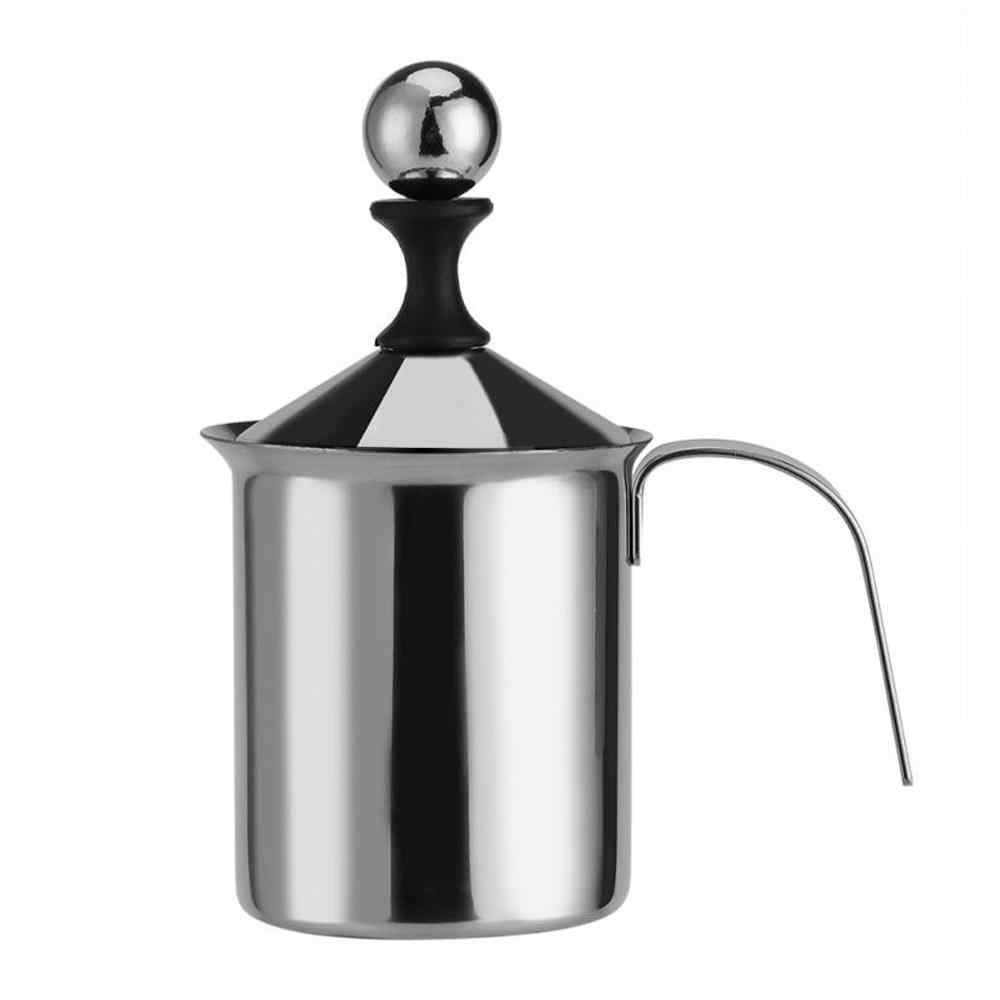 400ML/800ML ręczna pompa podwójna siatka jadalnia unikalny ręczny spieniacz do mleka Bar ze stali nierdzewnej gorąca czekolada ręczny spieniacz do mleka