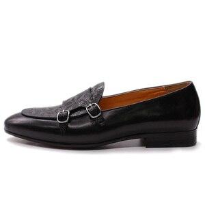 Image 5 - FELIX CHU Classic Monk Strap Mens Loaferหนังแท้สุภาพบุรุษงานแต่งงานCasualรองเท้าสีดำผู้ชายชุดรองเท้า