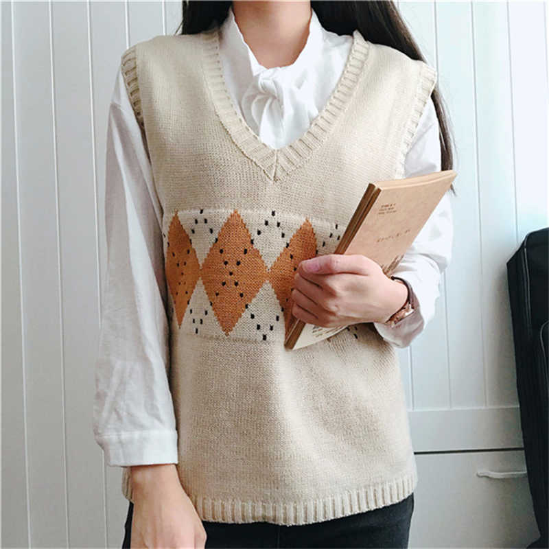 SLLSKY Women Sweater Vest Autumn Stylish Vintage Geometric Argyle V Neck Sleeveless Pullovers Knitted Woman Sweaters