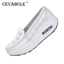 Czółenka damskie buty letnie oryginalne skórzane wycinanki oddychające buty Swing białe buty pielęgniarskie kliny podnoszą buty dla matek SPP-9001 tanie tanio cevabule Prawdziwej skóry Skóra bydlęca Lato Niska (1 cm-3 cm) Pasuje prawda na wymiar weź swój normalny rozmiar Slip-on