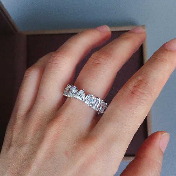 โรแมนติกหญิงหัวใจรอบหินแหวนเงิน 925 รักหมั้นแหวน Zircon แหวน