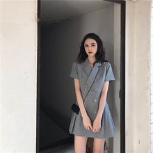 Large size womens clothing Suit Blazer Casual Double Breasted dress suit elegant OL button coat notched tops One Piece Slim Fit