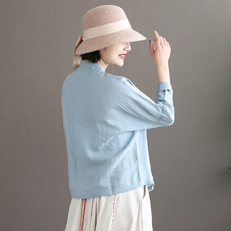 Women Long sleeve Linen Button  6