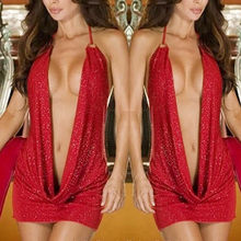 Lingerie Sexy Femmes Rouge V Profond Robe Licou Nuisette Charmant Sous-Vêtements de Sexe Porno Lenceria Mujer Robe Érotique Costumes Grande Taille