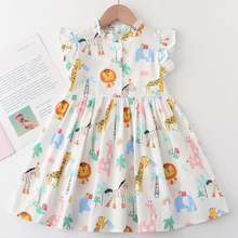 Menoea Kids Dresses For Girls 2021 Children Summer Sleeveless Casual Clothes Dress Girls Animals Pattern Party Dresses 2-7Years