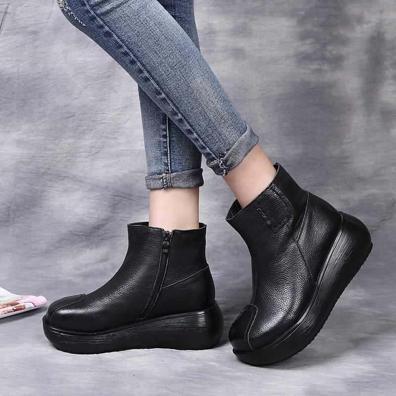 Frauen Knöchel Stiefel 6 Cm flache Plattform Chunky Stiefel Damen Winter Warm Halten Frauen Schuhe Schwarz Dunkelbraun Retro Echte leder
