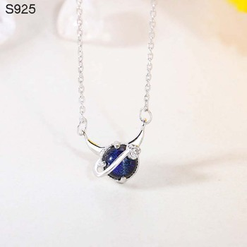 Genuine Real Pure Solid 925 Sterling Silver Pendant Necklaces Women Jewelry Blue Crystal Female Chain Necklace Choker