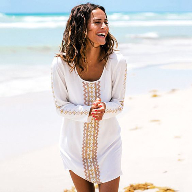 Europe And America Cotton Embroidery Long Sleeve Beach Skirt White Embroidered Bikini Outer Blouse Holiday Sun Shirt