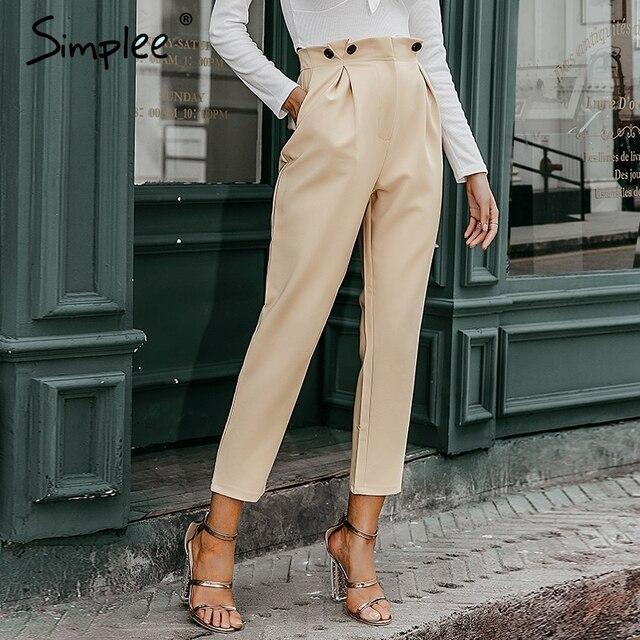 Simplee katı rahat harem pantolon kadın pantolon yüksek bel ofis bayanlar blazer takım elbise pantolon gevşek ayak bileği uzunlukta kadın pantolon 2019