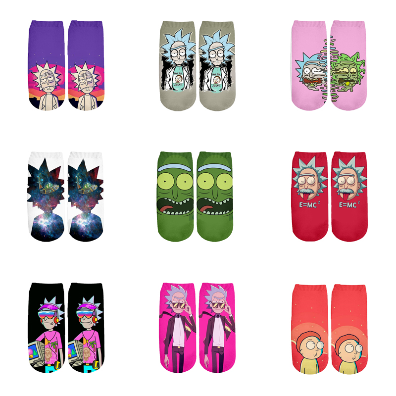 Newest Funny 3D Printed Cartoon Cute Short Ankle Socks For Men Women Harajuku Korean Socks  RS-007
