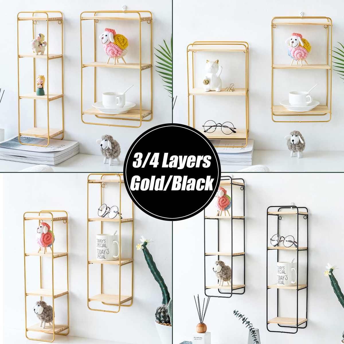 3/4 Layers Nordic Iron Rectangular Grid Wall Storage Rack Shelf Wall Hanging Geometric Figure Display Crafts Decorative Shelves