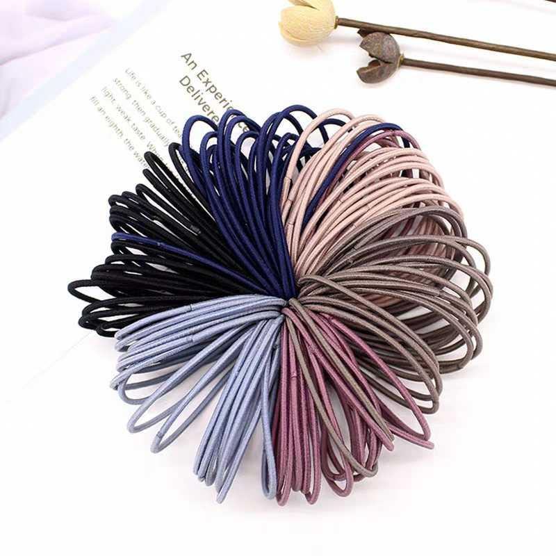 50pc シンプルな Scrunchies 女性ガールズ弾性ヘアゴムバンドアクセサリー子供のための Chindren の毛リングロープネクタイホルダーポニーテール