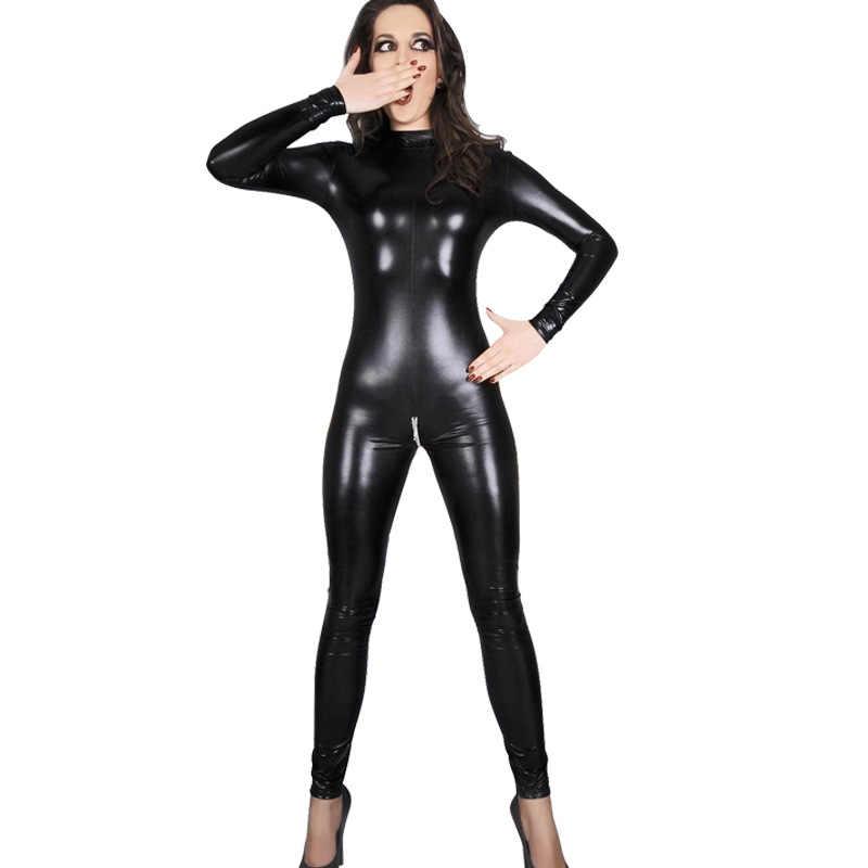4XL Plus Größe PU Leder Bodycon Strampler Frauen Overall Sexy Zipper Öffnen Gabelung Lang Hülse Body Pole Dance Nacht Clubwear