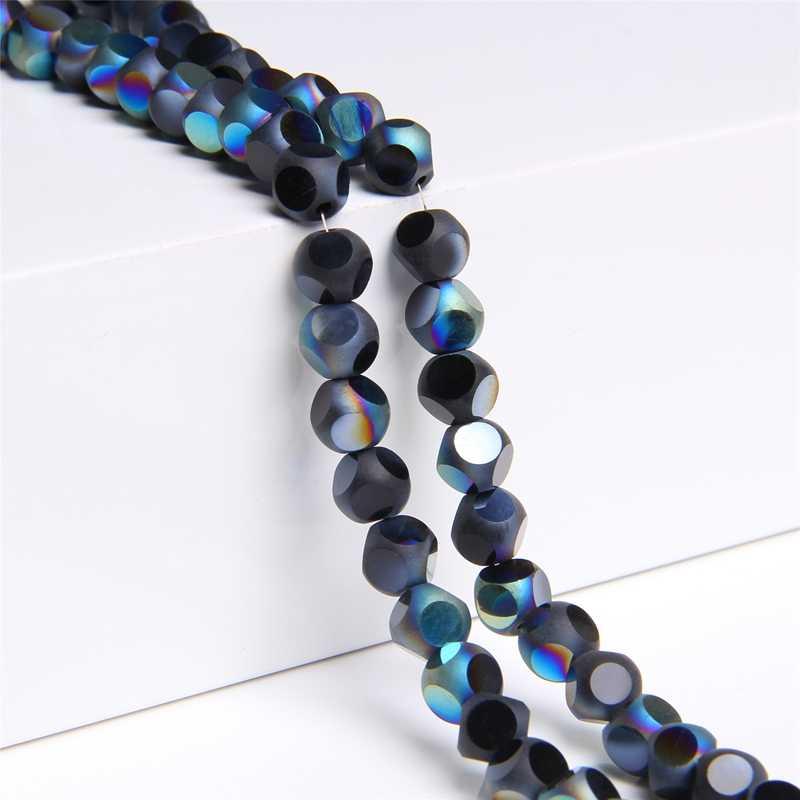 15.5 ''Dilapisi Manik-manik Kaca Ab Flash 8 Mm Bulat Berongga Longgar Spacer Beads Pembuatan Diy Temuan Perhiasan Wanita gelang