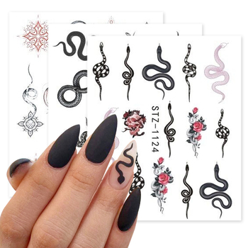 Snake Nail Stickers Animal Design Black Snake Temporary Tattoo Manicure Dragon Nail Decal Slider Water Wraps Tool GLSTZ1124-1131 1