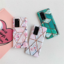 Plating Flower&Marble Phone Case For Huawei P40 Pro P30 P20 Lite Pro Soft TPU Cover For Huawei Mate 20 Mate 30 Pro Lite Case huawei mate 20 lite case huawei mate20 lite case transparent soft case for huawei mate 20 lite sne lx1 silicone phone case 6 3