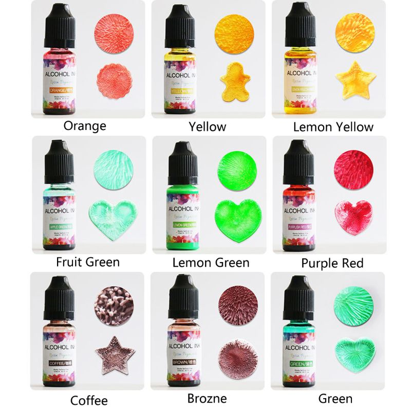 24 Colors 10ML Art Ink Alcohol Resin Pigment Kit Liquid Resin Colorant Dye Ink Diffusion UV Epoxy Resin Jewelry Making 5
