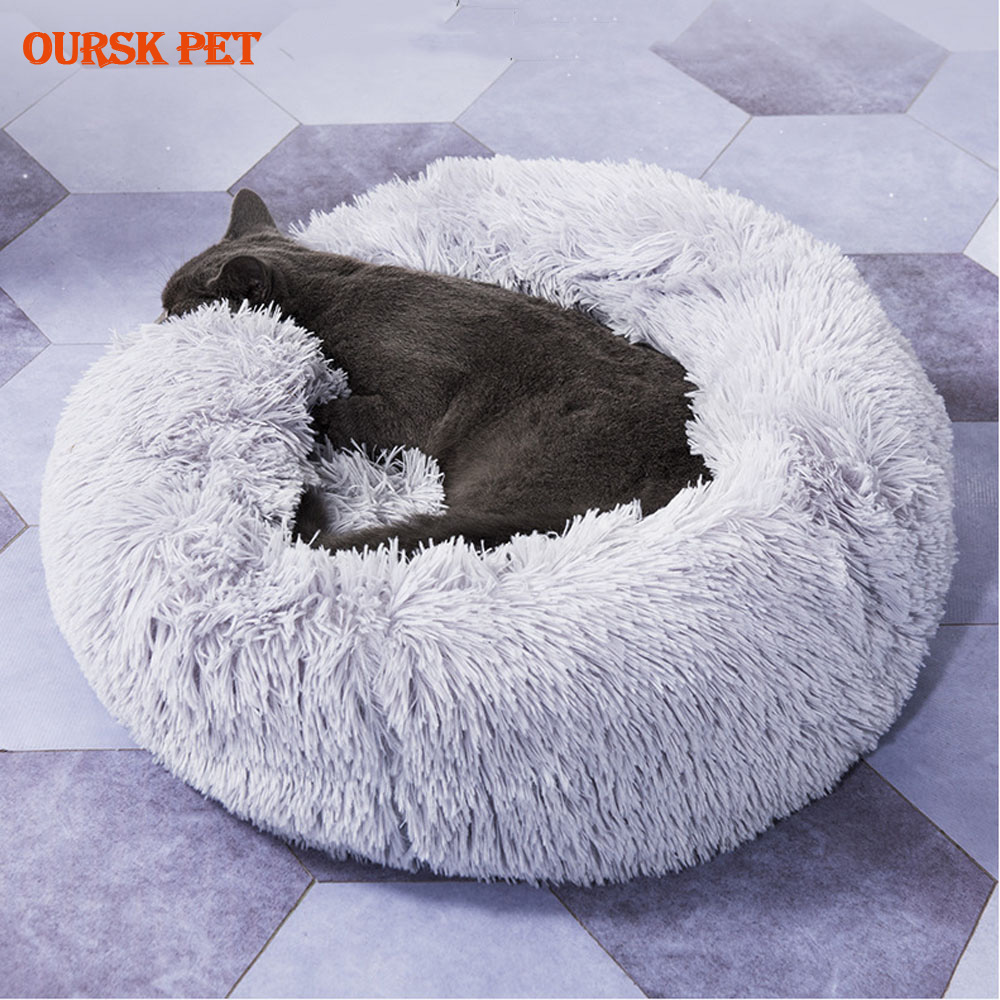 Round <font><b>Cat</b></font> <font><b>Bed</b></font> <font><b>House</b></font> Soft Long Plush Best Pet Dog <font><b>Bed</b></font> For Dogs Basket Pet Products Cushion <font><b>Cat</b></font> Pet <font><b>Bed</b></font> Mat <font><b>Cat</b></font> <font><b>House</b></font> Animals Sofa image