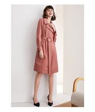 New British style suit collar windbreaker womens elegant tie up waist length knee length coat