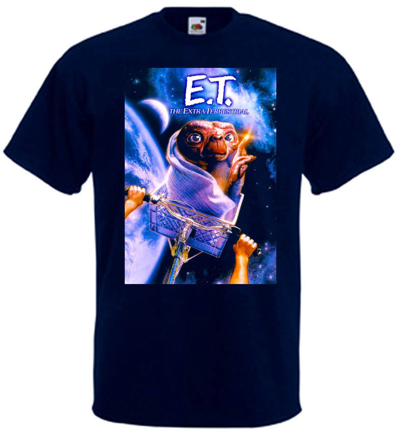 E T Extra Terrestrial V4 T Shirt Black Navy Blue Movie Poster All Sizes S 3Xl Summer Short Sleeves New Fashion T Shirt image