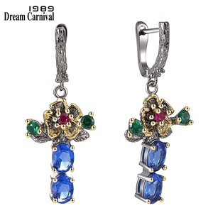Image 4 - DreamCarnival 1989 New Arrived Flower Style Drop Earrings ring set  Blue Zirconia Anniversary Party Chic Jewelry Hot ER3877S2