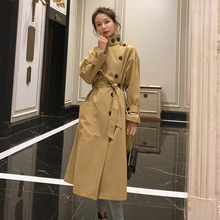 England Style Women #8217 s Windbreaker Trench Coat Long Single-Breasted Slim Belted with Flap Pocket Spring Autumn Cloak Outerwear cheap Csun Yuk Full Twill COTTON Polyester Button Pockets Adjustable Waist Solid Ages 18-35 Years Old C101-ZB303 Turtleneck Single Breasted