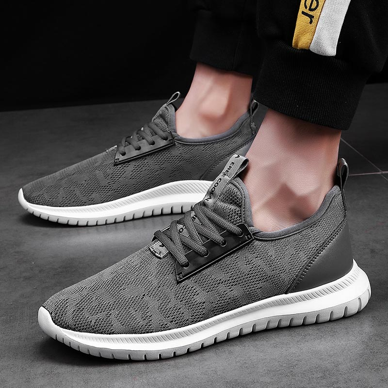 Large Size Breathable Men Shoes Sport Summer Athletic Shoes Mesh Men's Sneakers Light Weight Sports Shoes Running Gray Gym B-304