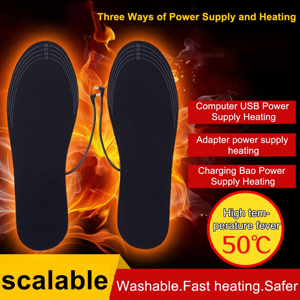 Winter Warmer Pads Electric Heated Shoe Cuttable Insoles Warm Socks Feet Heater USB Charge One Size Fits Most Foot