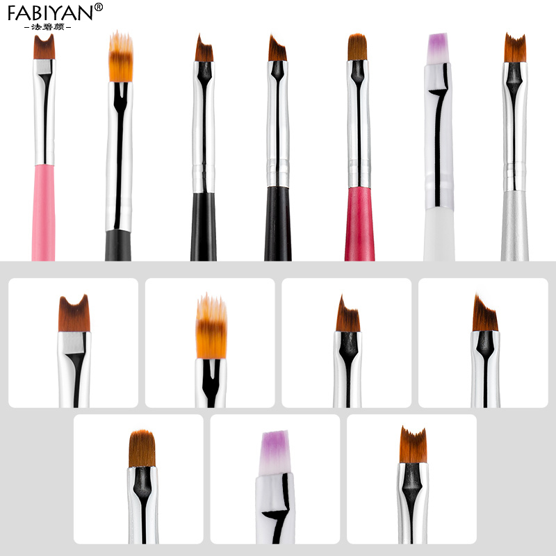 Nail Art Brush French Gradient Half Moon Smile Flat Pen Manicure Drawing Painting Tips UV Gel Extension Builder Tool