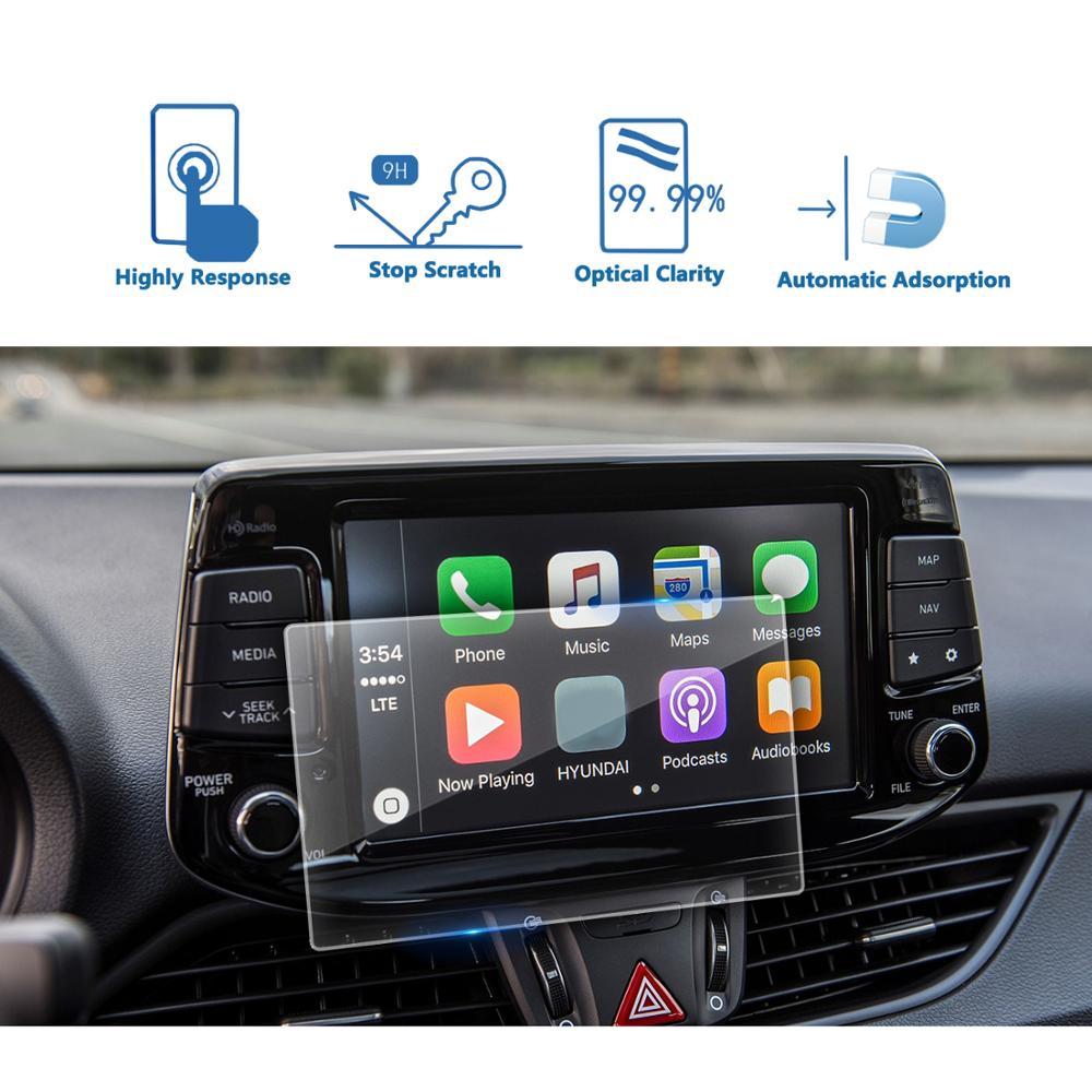 LFOTPP para el nuevo i30 estado 8 pulgadas 2018 de navegación del coche de vidrio templado Protector de pantalla película de pantalla Auto Interior de protección pegatina Nuevo Multi Color USB Iluminación led interior de coche Kit atmósfera luz neón lámparas