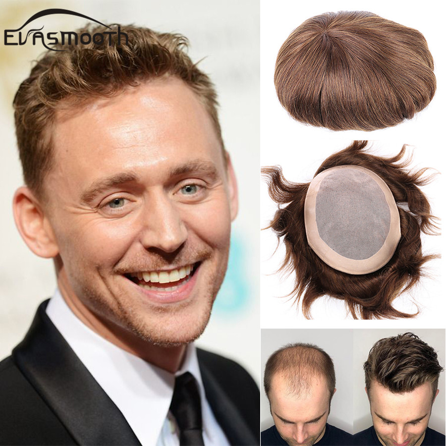 Natural Hair Wigs  Man Mono Toupee Male Wig Hair Extension Prosthesis Men Toupee Indian Wig Remy Hair Man Replacement Systems