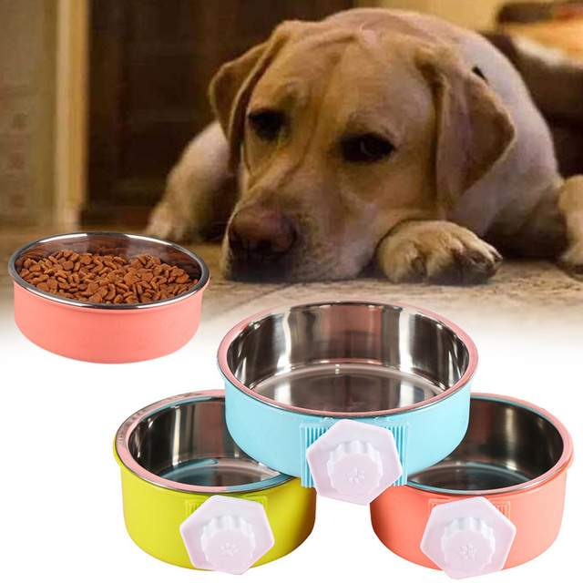 Cage Bowl Hanging Dogs Dog Feeder Pet Feeding Bowl 3 Colors Separable Hamsters Puppy Water Food 4
