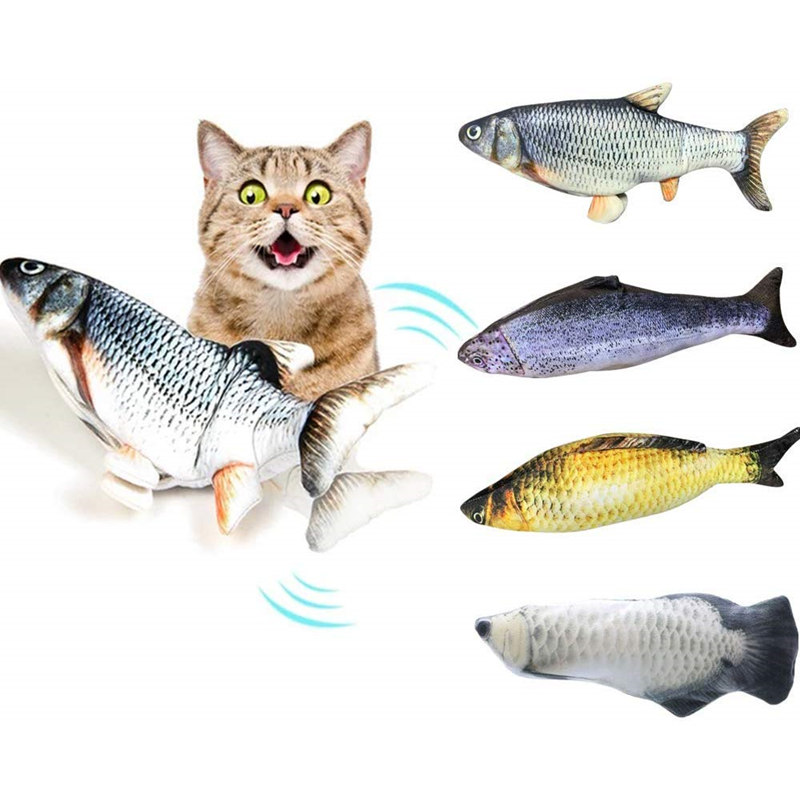 Moving Fish Electric Toy For Cat USB Charger Interactive Cat Chew Bite Toys Catnip Supplies Kitten Fish Flop Cat Wagging Toy