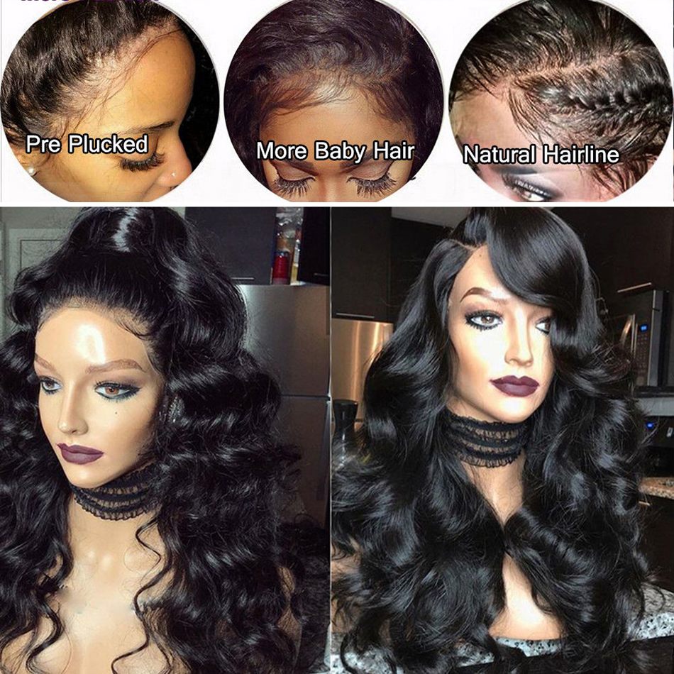 Lace Frontal  Wig 13*4 Pre Plucked With Baby Hair  Body Wave  Wigs  Hair 360 Lace Frontal Wigs 4