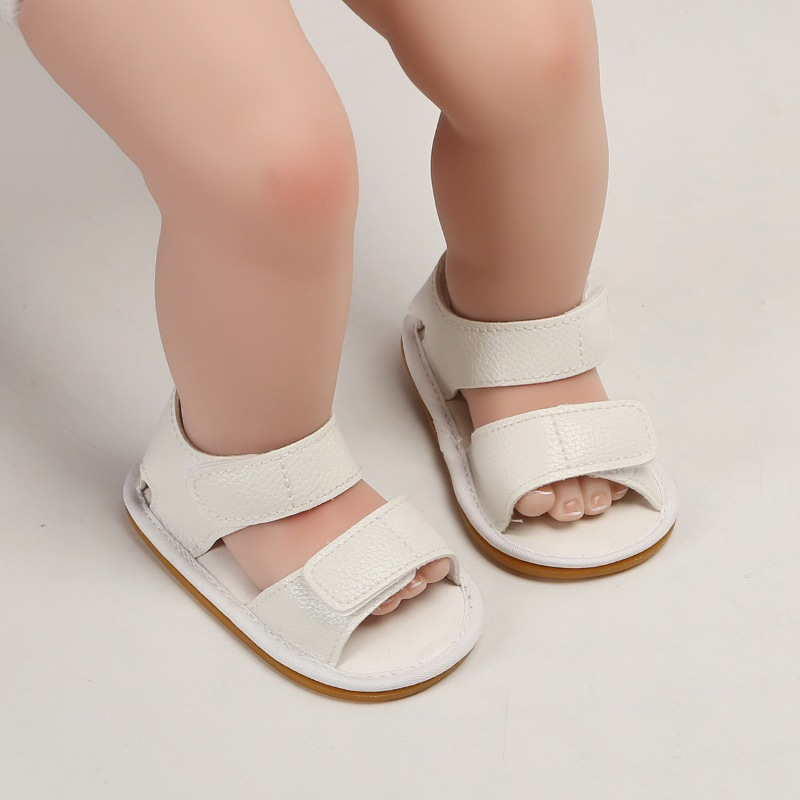 Summer Baby Boy Girl Sandals Solid Soft PU Leather Baby Sandals Anti-slip Rubber Sole Infant Toddler Shoes Boys Girls Sandal