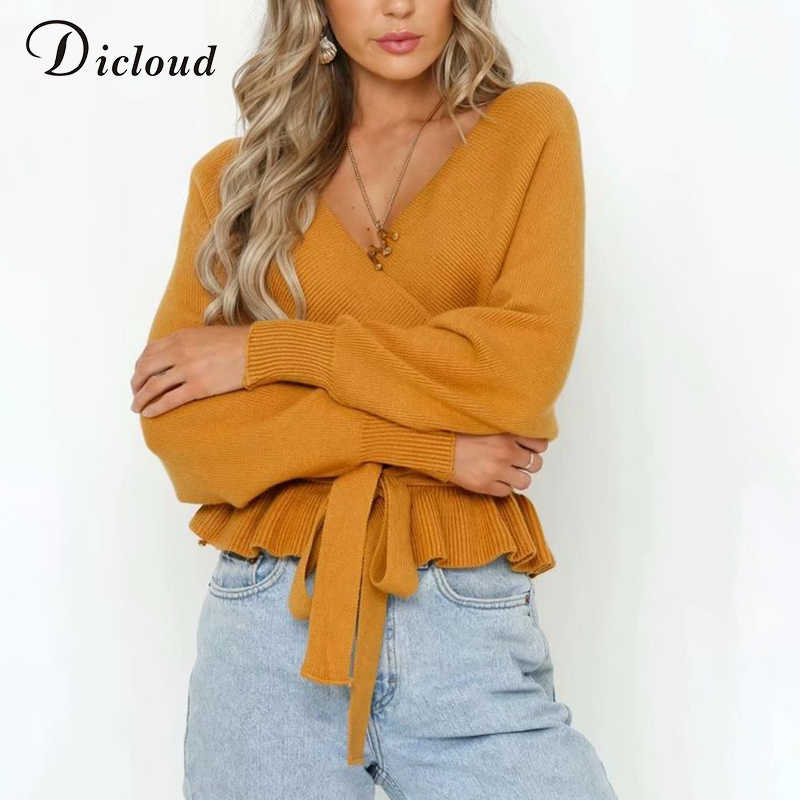 DICLOUD con cuello en V y volante de las mujeres, suéter de invierno cálido manga larga Sexy sin espalda Pullovers de punto pantalones ropa de invierno de Damas