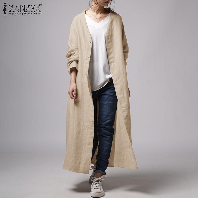 Cardigans Front-Coats Thin-Jackets Oversized Long-Tops ZANZEA Women's Solid Casual Open