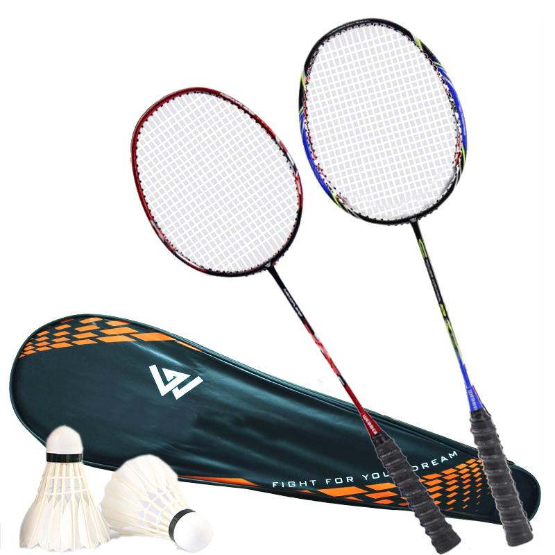 Professional Badminton Rackets Carbon Light Weight Sports Raquette De Badminton 1 Pair With Badminton Bag