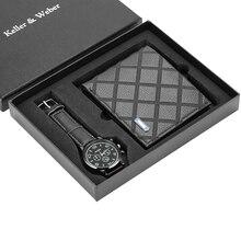 Для мужчин s часы в минималистском стиле кварцевые часы с кожаным ремешком наручные часы держатель для Карт Бумажник часы подарочный набор для мужчин для Муж папа дружок Reloj Hombre