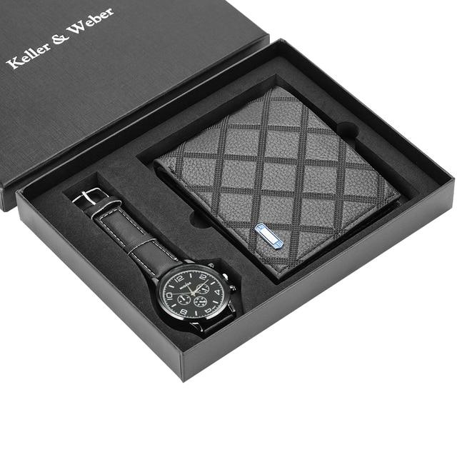 גברים שעונים קוורץ עור מינימליסטי שעון יד כרטיס מחזיק ארנק שעון גברים מתנת סט לאבא הבעל החבר Reloj hombre
