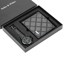Men Watches Quartz Leather Minimalist Wrist Watch Card Holder Wallet Watch Men Gift Set for Dad Husband Boy Friend Reloj Hombre